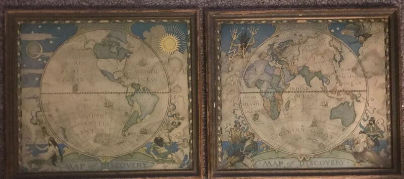 Rare 2 Original Framed-1928 Eastern-Western Hemisphere Map of Discovery NC.Wyeth