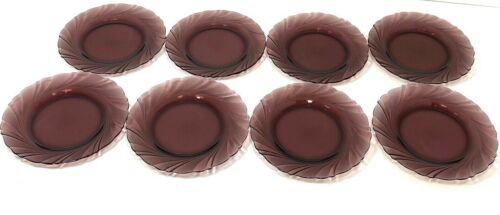 "Lot of 8 DURALEX FRANCE Purple Amethyst BORMIOLI ROCCO Swirl Salad Plate 7.5"""