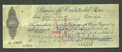 $50 Check 1946 Bank De Credito Del Peru The Chase National Bank No.19059 W/Stamp