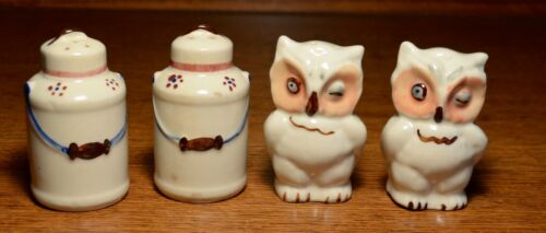 Vintage Shawnee Milk Can and Owl Ceramic Salt And Pepper Shakers