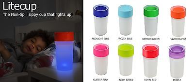 LiteCup - Non-Spill Sippy Cup that LIGHTS UP! (Nightlight) - 9 Colours Available