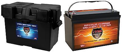 VMAX XTR31-135 + GRP 31 BOX for Mid American Pontoon 12V marine dp cyc battery