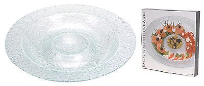 Stunning Large 40cm Glass Serving Platter Chip n Dip Plate Glass Seafood Platter