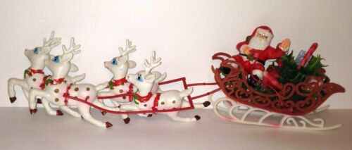 Vtg Christmas SANTA CLAUS in FLOCKED SLEIGH with 4 REINDEER Soft Plastic 20 Inch