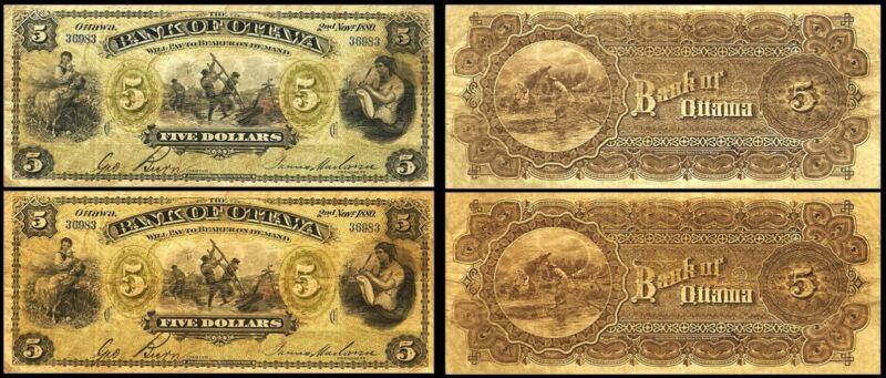 !COPY! 2 x 1880 BANK OF OTTAWA $5 BANKNOTES !NOT REAL!