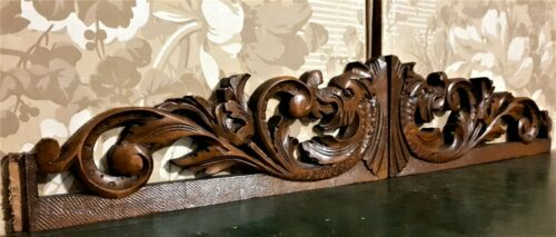 2 Griffin scroll leaf wood carving pediment Antique french architectural salvage