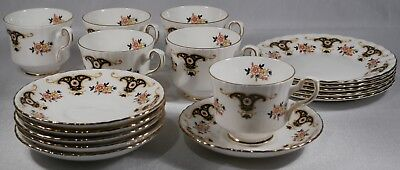 balmoral royal stafford bone china tea set 6x teacup cup & saucer 5x side plates