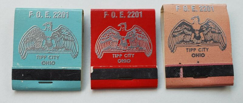 VINTAGE FRATERNAL ORDER OF EAGLES 2201 TIP CITY OHIO F.O.E. BOOK OF MATCHES 3