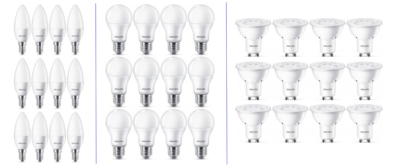 12 x Philips LED Leuchtmittel 2700K  GU10 Strahler | E27 Birnenform | E14 Kerze