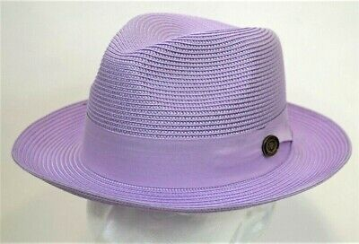 Men's Fedora Dress Casual Hat Summer Straw Lavender 100% Poly Braid FN-826 - Casual Lavender Dress