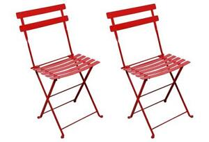 NEW Mobel Designhaus French Caf Bistro Folding Side Chair,Steel Metal Slats Condition: New