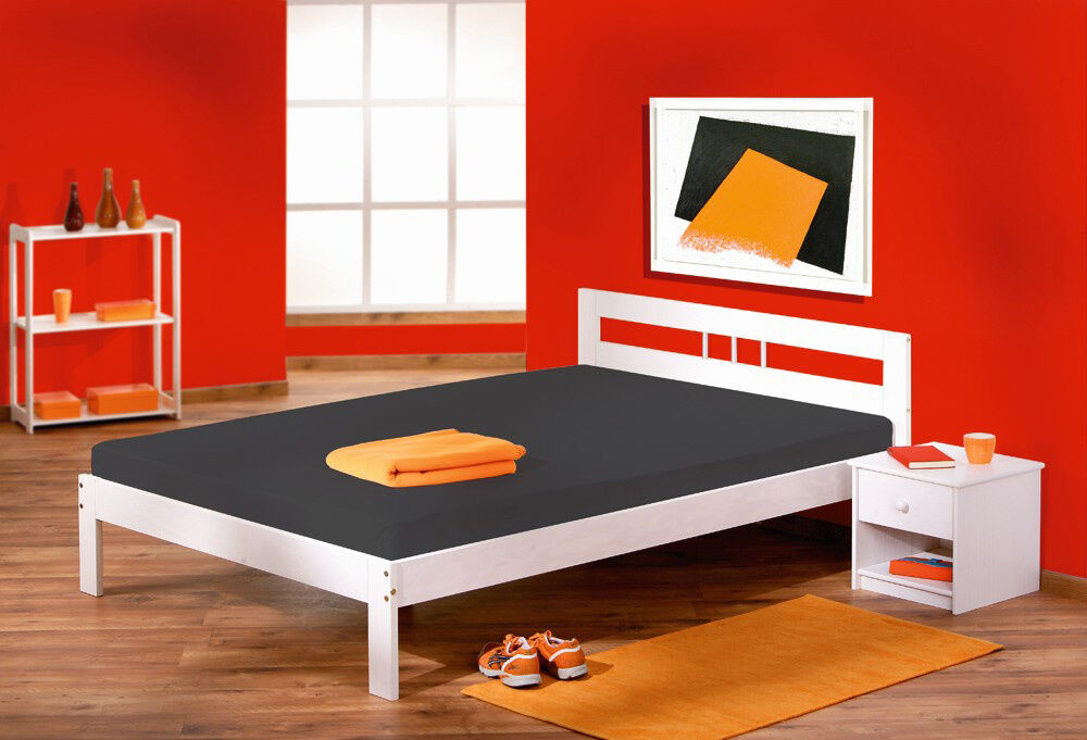 lit deux place 140x200 double avec sommiers adulte bois. Black Bedroom Furniture Sets. Home Design Ideas