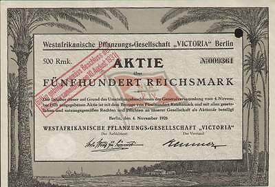 Westafrikanische Pflanzungs-Gesellschaft 'Victoria', Berlin 1926, 500 RM, deco