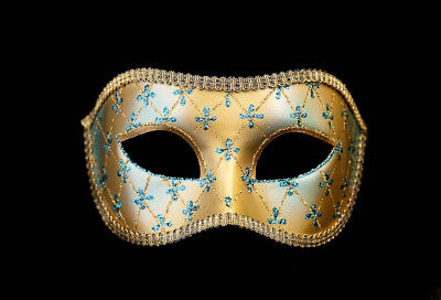 Mask from Venice Colombine Lea Blue and Golden for Prom Mask 957 V4B