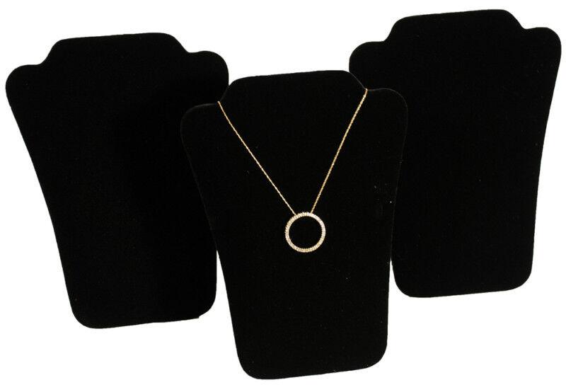 """3 New Black Velvet Padded Necklace Pendant Display 6"""""""