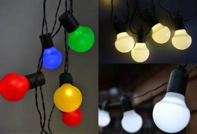 LED Lichterkette Außen weiße o. bunte Kugeln 20 o. 50 LEDs Partylichterkette