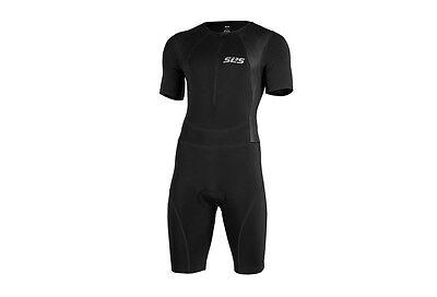 SLS3 Mens Medium Triathlon Tri Race Suit Short Sleeve Skinsuit Trisuit Black NEW
