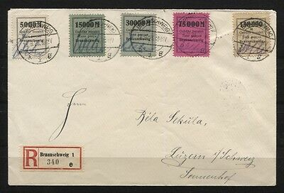 Gebührenmarken II Fa. Borek kompl. auf R-Brief Braunschweig nach Luzern (B03444)