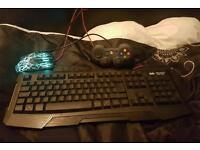 Gaming keyboard mouse and controller