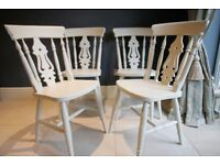 4 Lovely matching beech farmhouse chairs in F&B colour Lime White No.1