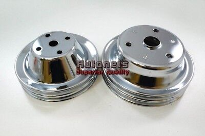 SBC Chrome Small Block Chevy Long Water Pump + Crank Pulley Double 2 Groove (Double Groove Crank)