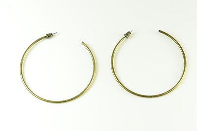 90'S INSPIRED STYLISHLY SLIM RUSTIC GOLD TONE EFFECT LARGE FASHION HOOPS (ZX2)