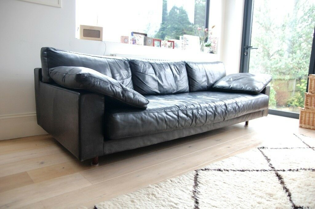 Vintage Black Leather Sofa Mid Century 1960s Modern Style Retro