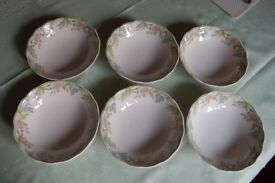 Royal Doulton 'Sudbury' Pattern Cereal/Pudding Bowls x 6 in Very Good Used Condition.