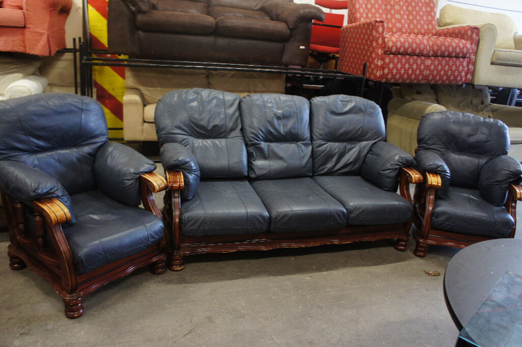 Large dark blue leather 3 seater with 2 armchairs