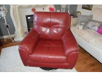 RED LEATHER SWIVEL ARMCHAIRS