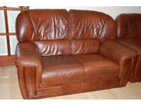 Free 2 + 3 brown leather sofas good quality