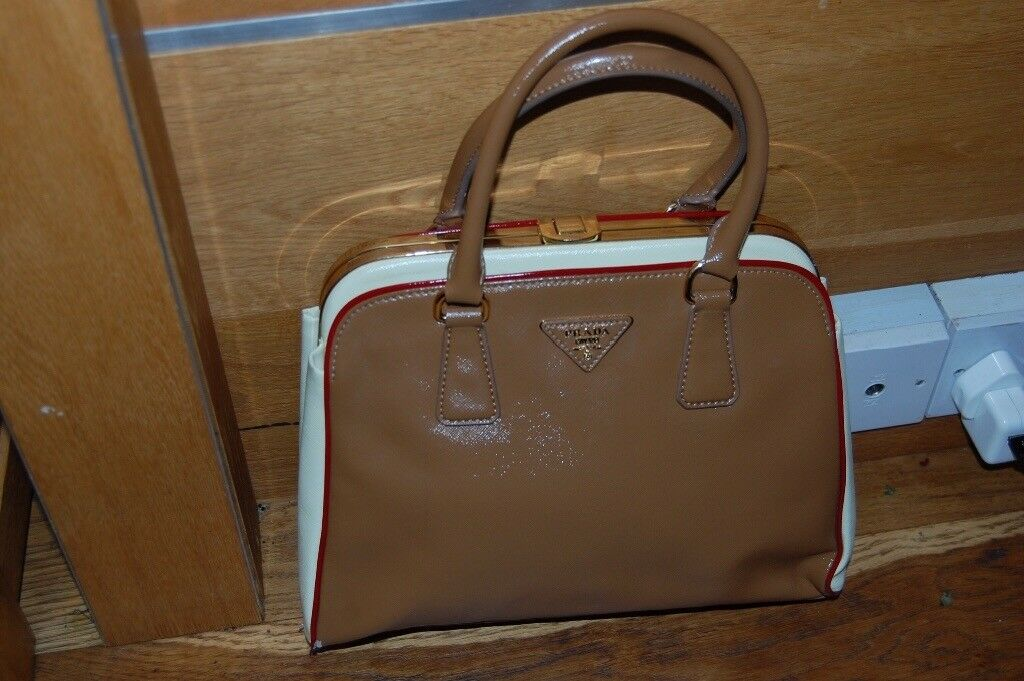 252aa51a083c Authentic Prada Limited Edition Camel   White Leather Pyramid Frame Bowler  Bag