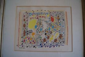 Picasso pen and paint picture on paper, framed from 1961.