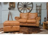 Leather Vintage 2 Seater Sofa Tan + Footstool Studs
