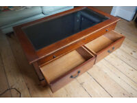 Glass Topped Display Coffee Table