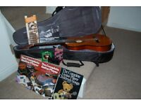 ACOUSTIC GUITAR BUNDLE WITH CASE, BOOKS, TUNER