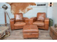 Leather Vintage Distressed 2 Artmchairs + Footstool Brown