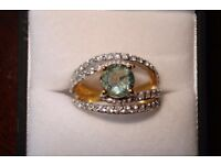 SILVER GOLD PLATED RING MAIN STONE FLUORITE AND WHITE ZIRCONS SIZE O