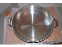 Large Stainless Steel Paella/Pasta Pan with Lid UNUSED