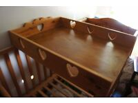 wooden baby change mat for over cot - heart detail