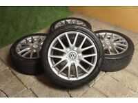 "Genuine VW Golf MK5 17"" Classix Alloy wheels 5x112 VW Caddy Touran GTi GTD Audi A3 A4 Alloys Grey"