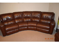 DFS corner brown leather reclying sofa with matching footstool