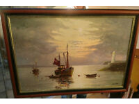 Framed original Gordon Allen Oil Painting On Canvas Brixham Lighthouse & boats