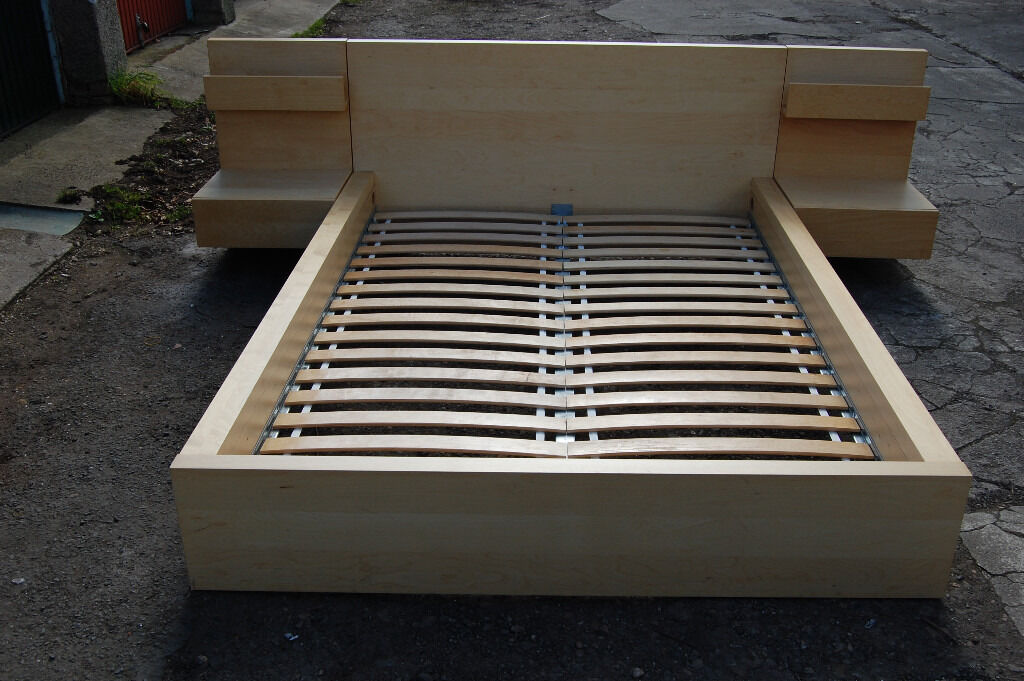 IKEA MALM double Bed frame, White stained oak veneer ...