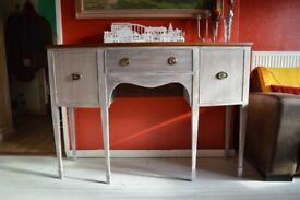 Regency style sideboard, hall table, vintage distressed server buffet, bow fronted console, c. 1940.