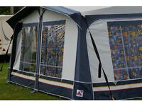 Used Dorema Cardinal Caravan Awning (Size 9) 850 - 875cm Blue/Grey, good condition, buyer to collect
