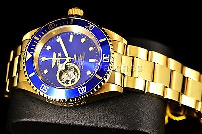 Invicta Blue Pro Diver Open Heart Skeleton Automatic 18kt Gold Plated Watch New