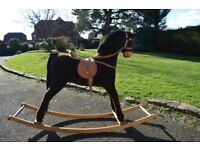Mamma and Pappas Childs Rocking Horse, brown with wooden rockers