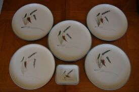 Denby Greenwheat Plates & Casserole, Cotswold Plate, Cups and Sauce Boat, All in Lovely Condition