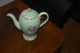 Foley china tea/coffee pot English bone china pale green with floral bouquet